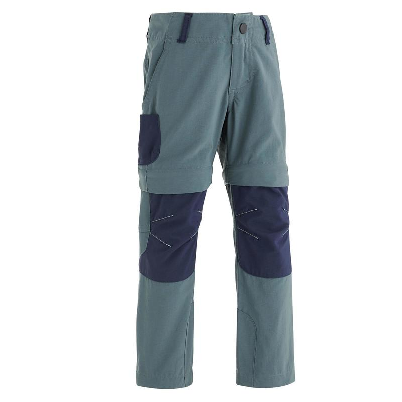 Kids' Zip-Off Hiking Trousers MH500 - Grey Blue