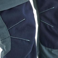 兒童款快拆式健行長褲MH500-灰色/藍色