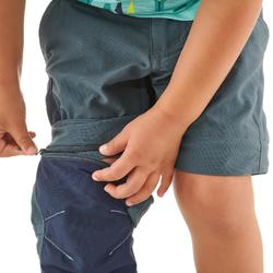 Pantalon de randonnée modulable enfant MH550 KID gris/bleu