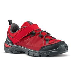 Zapatillas de senderismo júnior tira autoadherente MH120 LOW rojo del 28 al 34
