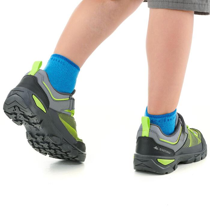 Wandelschoenen met klittenband voor kinderen MH120 low grijs en groen 28 tot 34