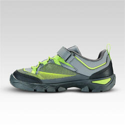 MH120 Low Kids' Hiking Shoes with Rip-Tabs - Grey and Green, Size C10 to 2