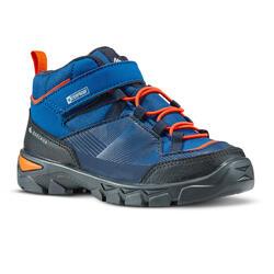 Chaussures randonnée enfant avec autoagrippant MH120 mi-hautes bleues 11-3