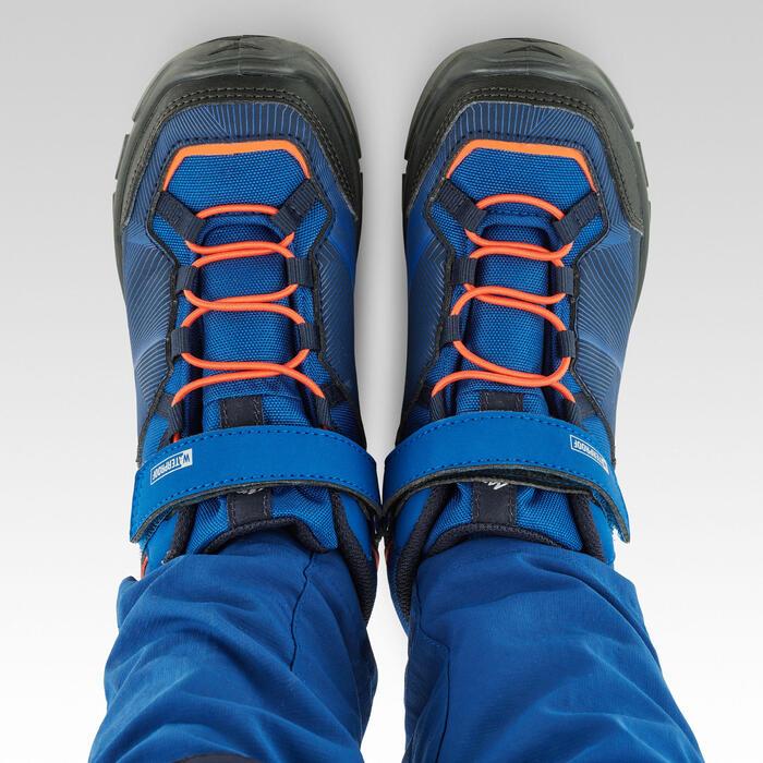 Chaussures imperméables de randonnée -MH120 MID bleues- enfant 28 AU 34 scratch