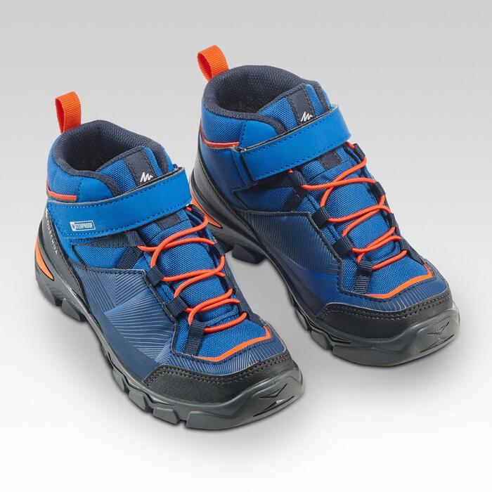 Chaussures de randonnée enfant montantes avec scratch MH120 MID bleues 28 AU 34
