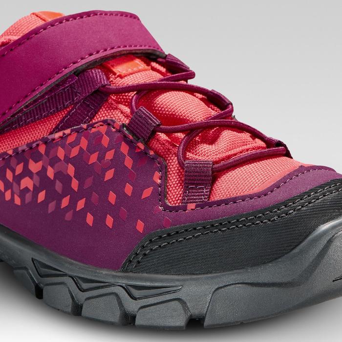 兒童款魔鬼氈低筒健行鞋MH120 28號至34號-紫色