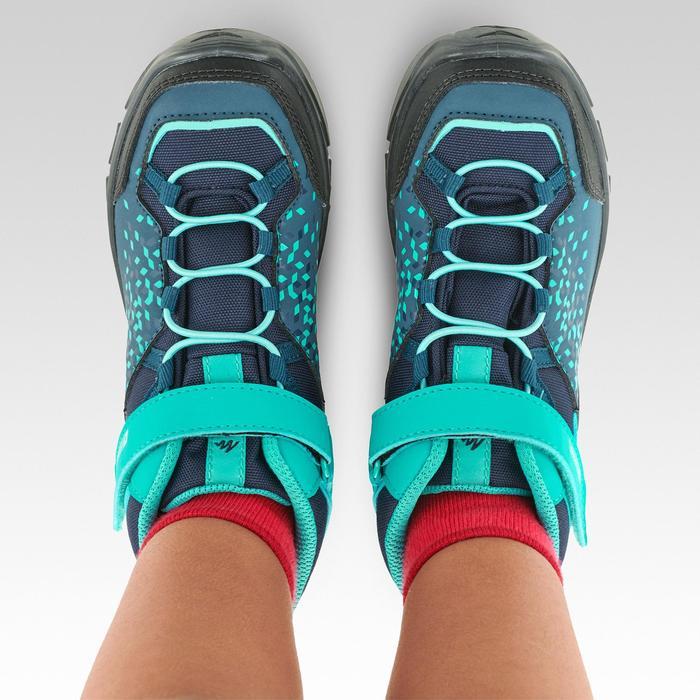Hoge wandelschoenen met klittenband MH120 MID voor kinderen turquoise 28 tot 34