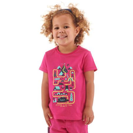 T-shirt de randonnée - MH100 KID rose - Enfants