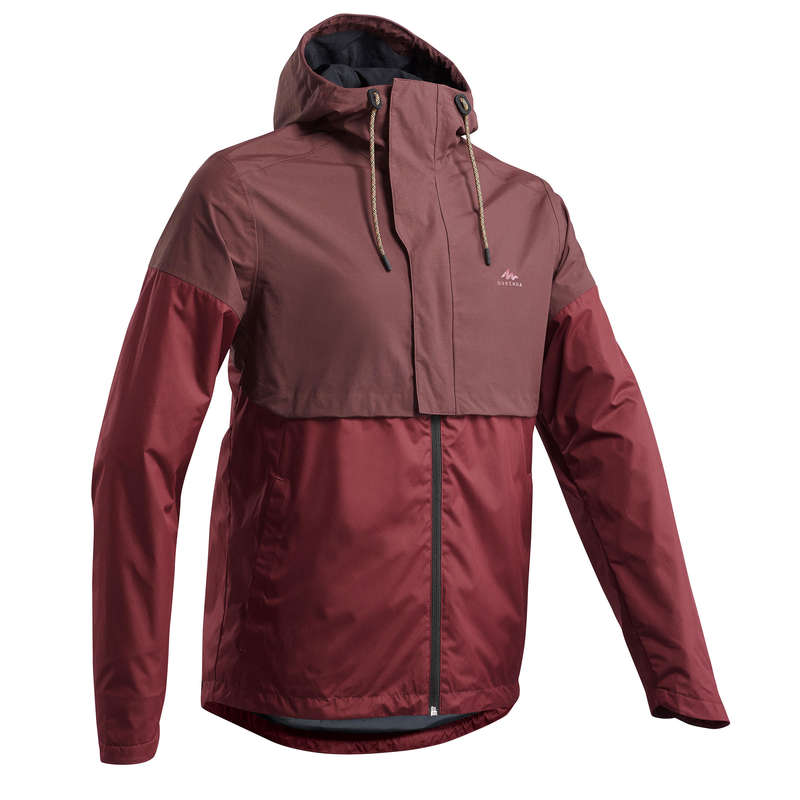 MEN NATURE HIKING JACKETS ALL WEATHER Hiking - Jacket NH500 Imper - Burgundy QUECHUA - Hiking Clothes