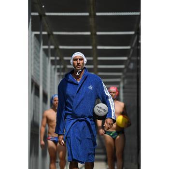 Peignoir 500 water polo homme coton épais noir avec ceinture, poches et capuche