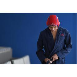 Peignoir enfant coton léger natation bleu marine avec ceinture, poche et capuche