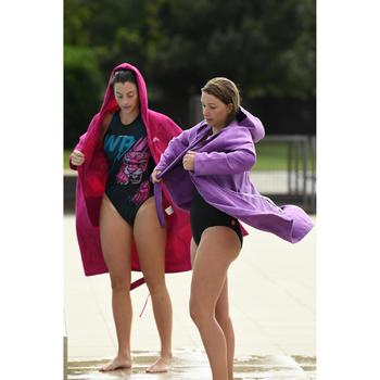 Women's Compact Microfibre Pool Bathrobe with Hood - Purple
