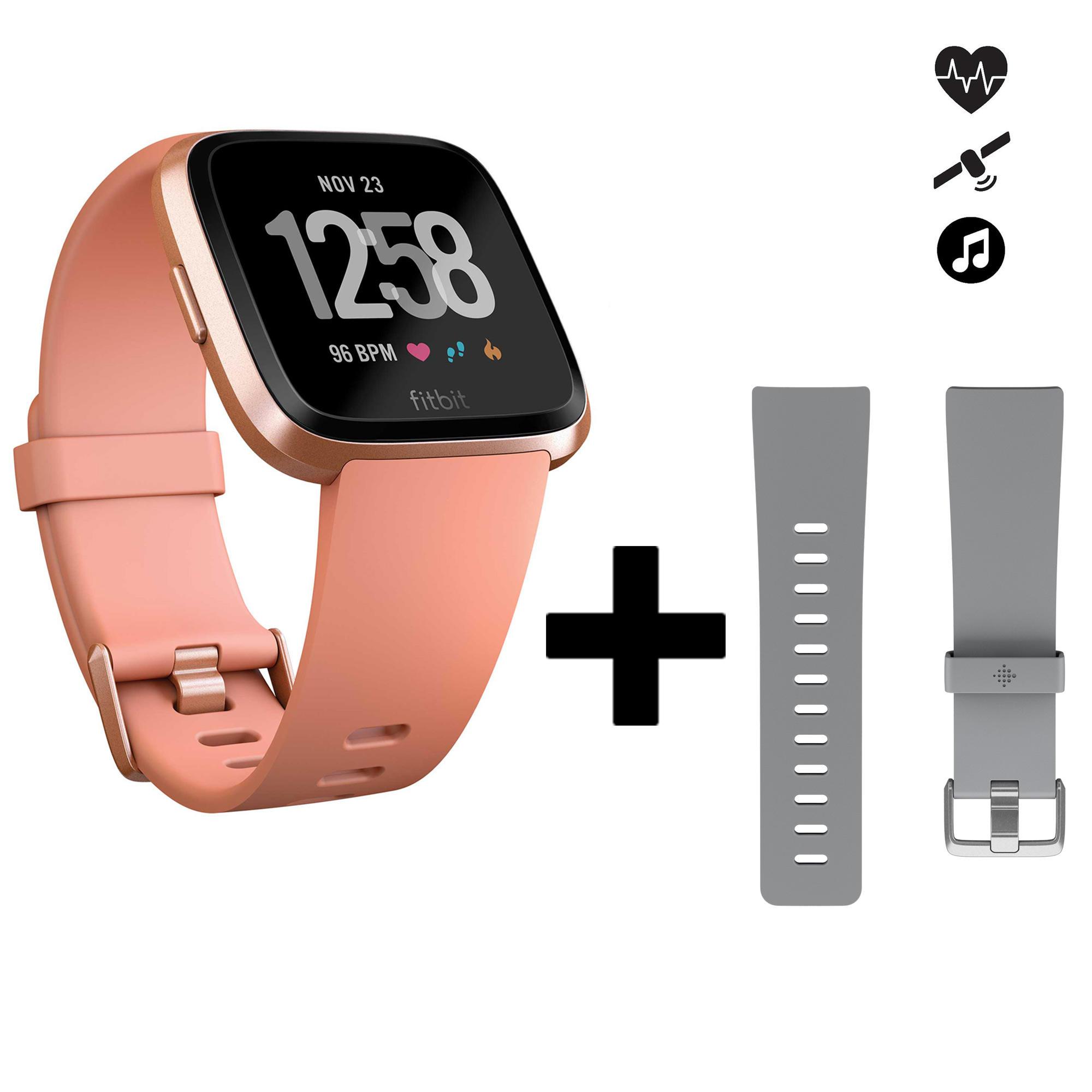 Versa pfirsich Smartwatch mit Pulsmesser am Handgelenk + graues Armband | Uhren > Smartwatches | Orange - Rosa | Fitbit