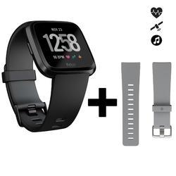 Pack de reloj conectado con pulsómetro en la muñeca Versa negro + correa gris