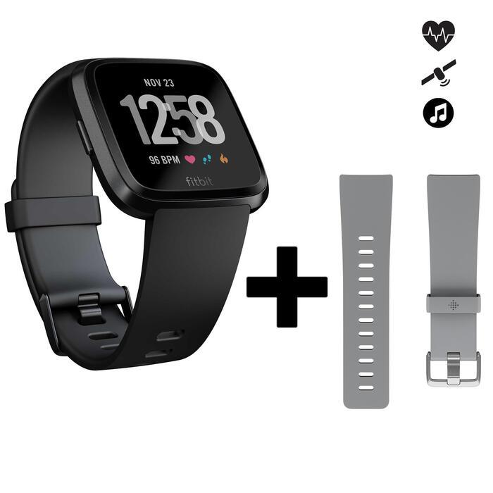 Reloj Conectado Pulsómetro Muñeca Running Fitbit Versa Negro + Correa Gris