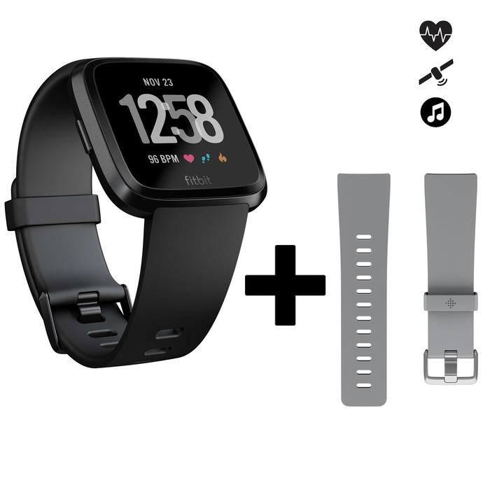 cae385e14 Reloj Conectado Pulsómetro Muñeca Running Fitbit Versa Negro + Correa Gris