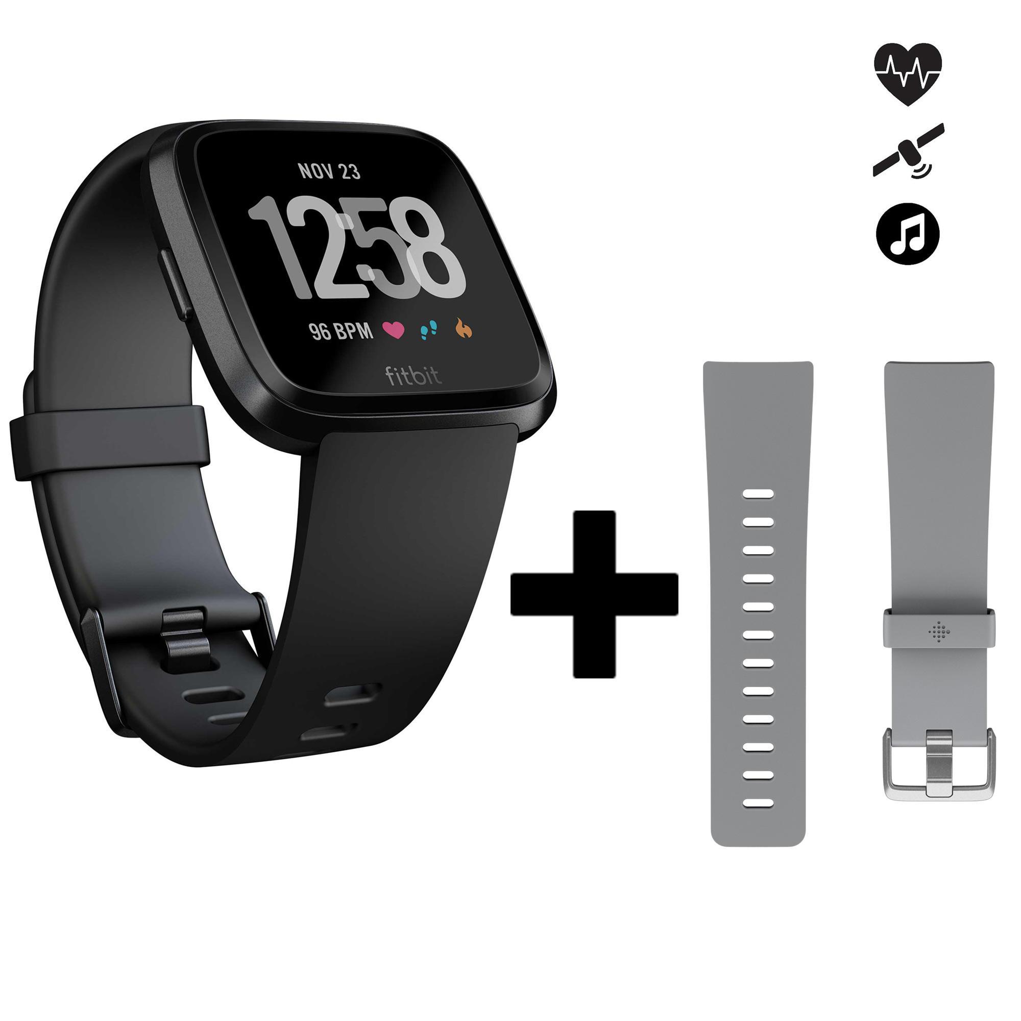 Fitbit Set smartwatch met hartslagmeter aan de pols Versa zwart + grijs bandje thumbnail