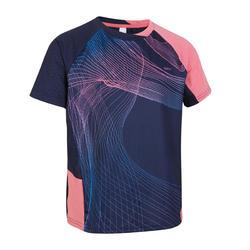 Camiseta de bádminton manga cortaperfly 560 niños azul y rosa