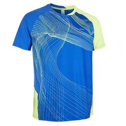 Camiseta de bádminton manga corta perfly 560 hombre azul y amarillo
