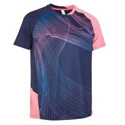Camiseta de bádminton manga corta perfly 560 hombre azul y rosa
