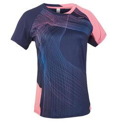 Camiseta de bádminton manga corta perfly 560 mujer azul y rosa