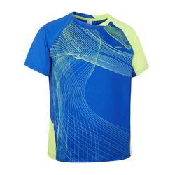 Camiseta de bádminton manga corta perfly 560 niños azul y amarillo