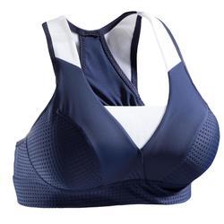 Sujetador-top fitness cardio-training mujer azul marino 900