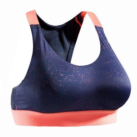 Top de cardio training Mulher 500 Estampado Azul Marinho e Coral ... 935f8f23a5923