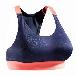 Brassière fitness cardio-training femme imprimée bleu marine et corail 500
