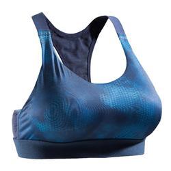 500 Women's Cardio Fitness Sports Bra - Navy Blue Print