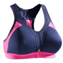 Brassière Power fitness cardio-training femme bleu marine et rose 900