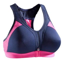 Cardiofitness sportbeha Power voor dames marineblauw en roze 900
