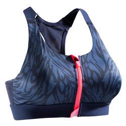 女款有氧健身拉鍊式運動內衣900-海軍藍印花