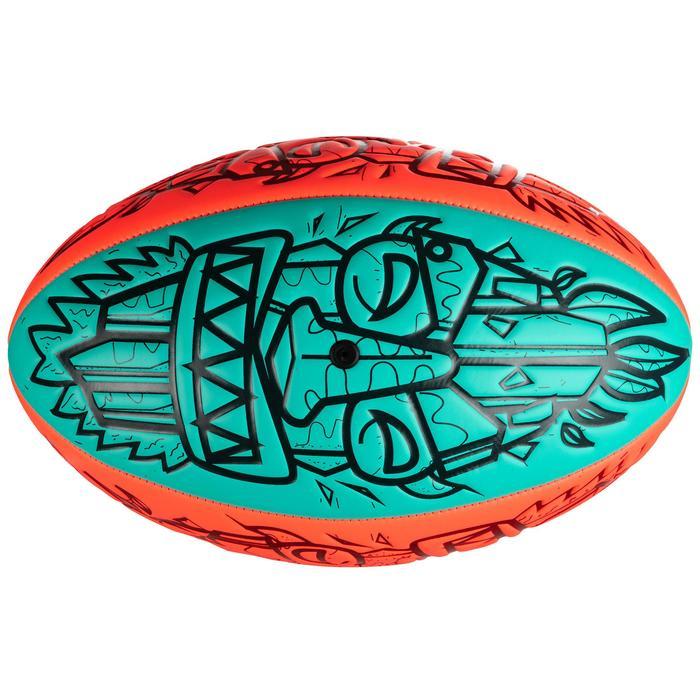 Rugbybal voor beach rugby Tiki R100 maat 4 rood/groen