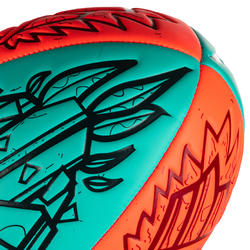R100 Size 4 Tiki Beach Rugby Ball - Red/Green