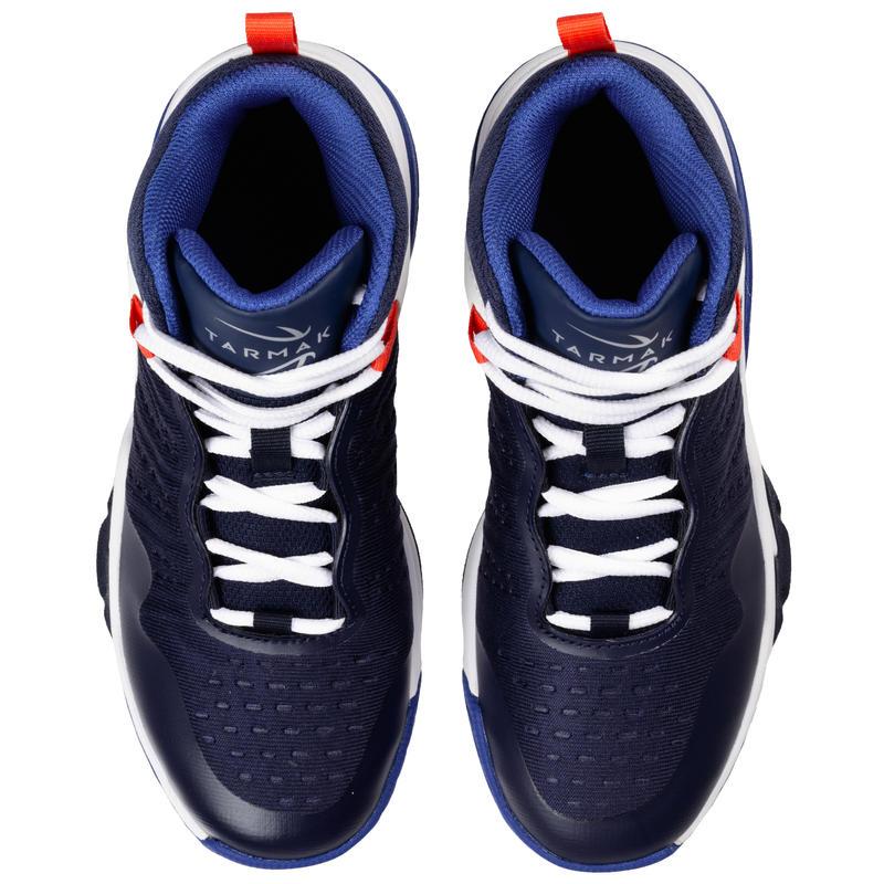 Giày chơi bóng rổ 500 cho bé trai/bé gái ở cấp độ trung bình - Xanh Navy