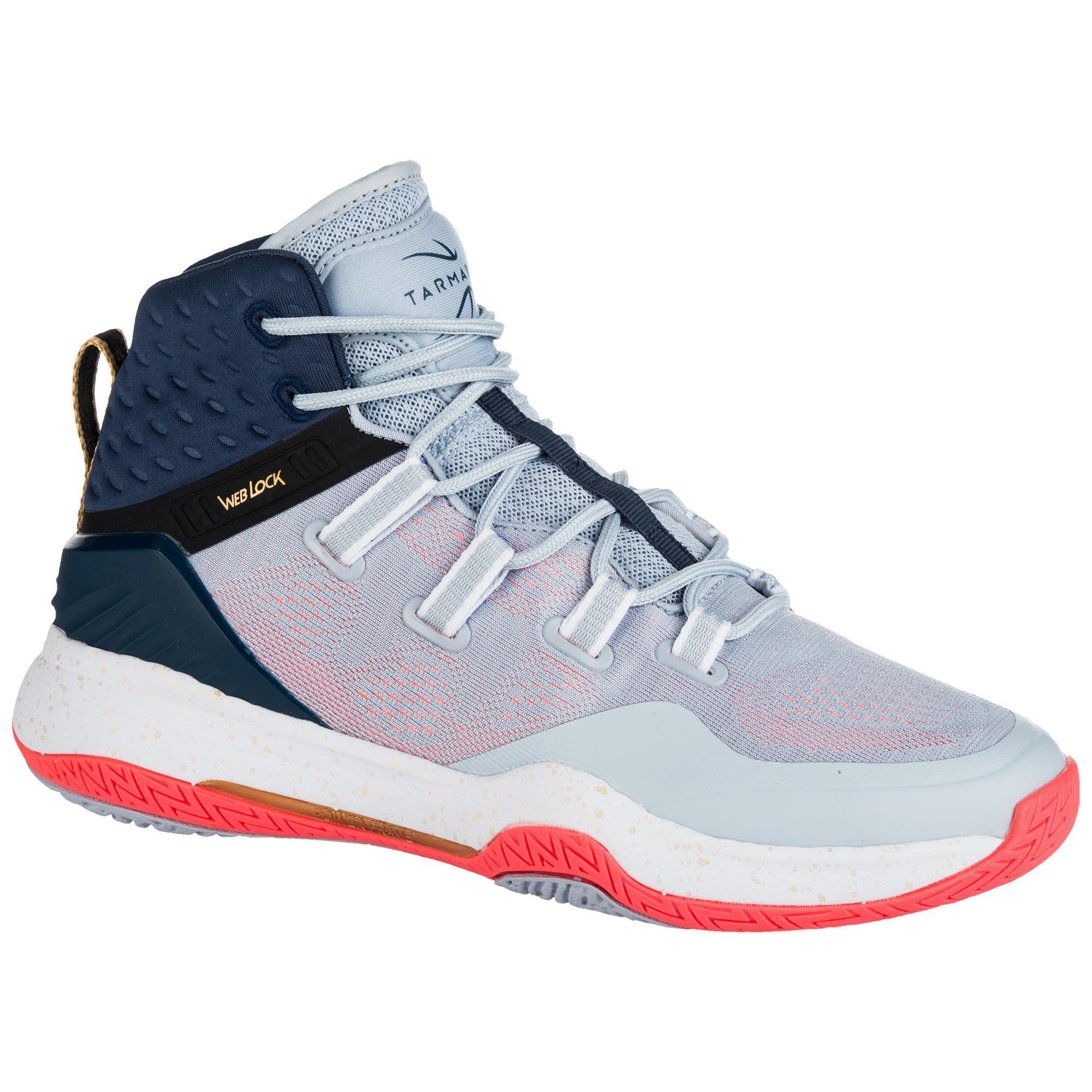Tarmak Basketbalschoenen voor dames grijs/blauw/roze SC500 High