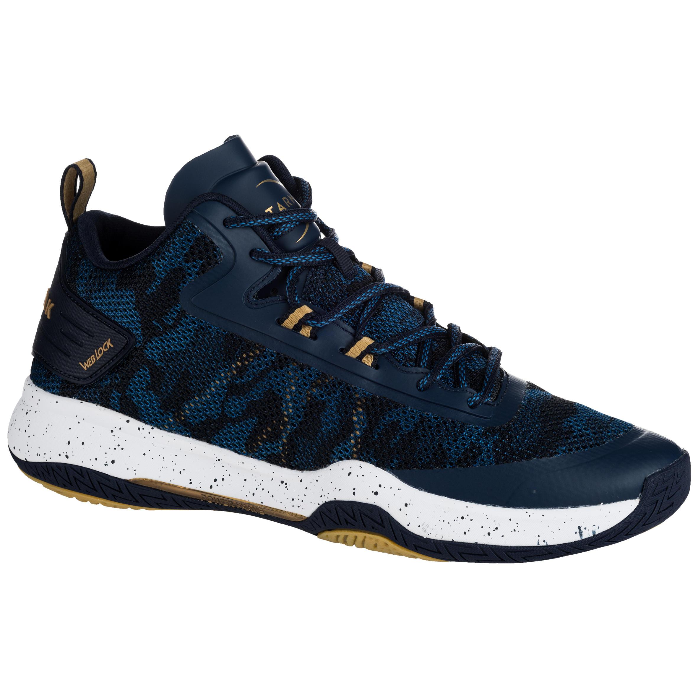 Tarmak Basketbalschoenen volwassenen H/D gevorderden SC 500 Mid blauw goud