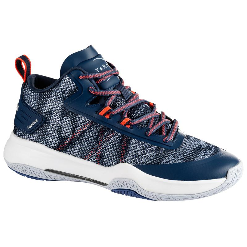 Dámská basketbalová obuv SC500 Mid modro-růžová