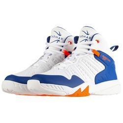 Basketbalschoenen voor halfgevorderde jongens/meisjes blauw wit SS500H