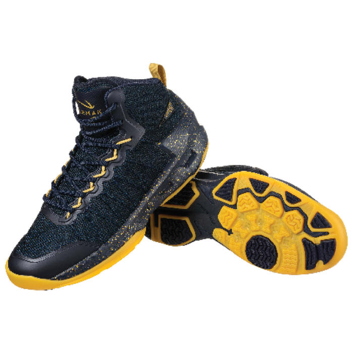 Zapatilla Baloncesto adulto perfeccionamiento Hombre/Mujer Shield500 azul dorado