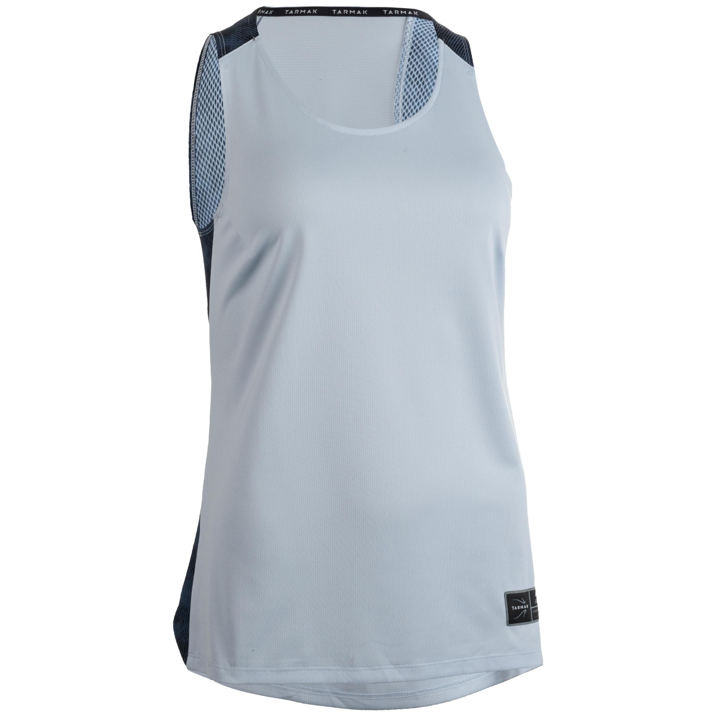 Tarmak Basketbalshirt voor dames grijs navy T500