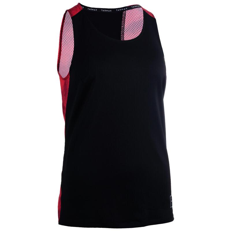 Dámské basketbalové tílko T500 černo-růžové