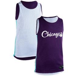 Basketbalshirt T500R reversible wit/paars (kinderen)