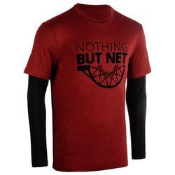 Basketbalshirt 900 met ingewerkte sleeves voor heren expert rood net