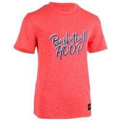 兒童款中階籃球T恤TS500-粉紅色/Hoop款