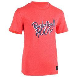 TS500 Boys'/Girls' Intermediate Basketball T-Shirt - Pink Hoop
