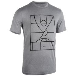 T-SHIRT / MAILLOT DE BASKETBALL HOMME TS500 GRIS PLAYGROUND