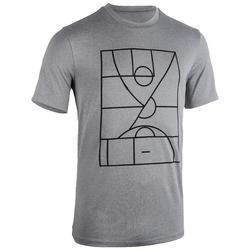 男款籃球T恤/運動衫TS500-灰色球場圖案
