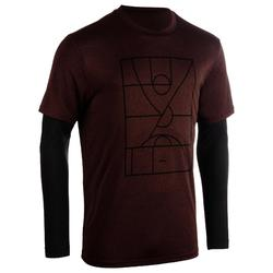 Men's Basketball T-Shirt with Built-In Sleeves 900 - Burgundy Playground